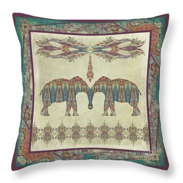 Throw Pillow featuring the painting Vintage Elephants Kashmir Paisley Shawl Pattern Artwork by Audrey Jeanne Roberts