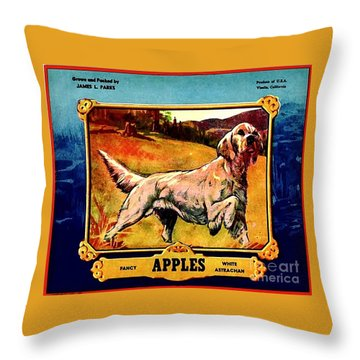 Throw Pillow featuring the painting Vintage English Setter Apples Advertisement by Peter Gumaer Ogden