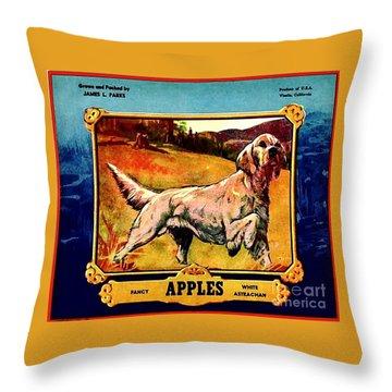 Vintage English Setter Apples Advertisement Throw Pillow by Peter Gumaer Ogden