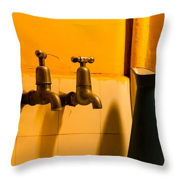 Vintage English Tap Water With Watering Can Throw Pillow