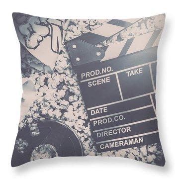 Vintage Film Production Throw Pillow