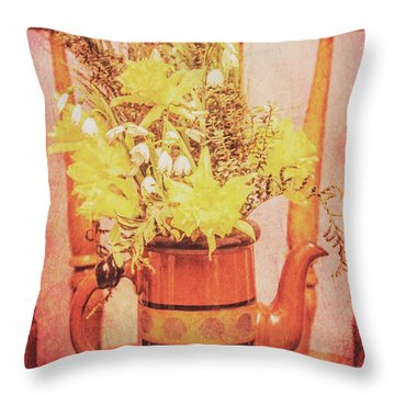 Vintage Fine Art Still Life With Daffodils Throw Pillow