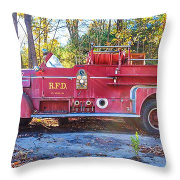 Vintage Fire Truck South Weare New Hampshire Throw Pillow