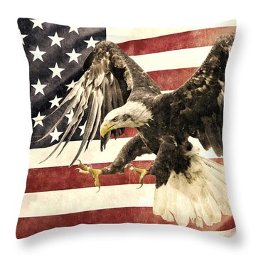 Throw Pillow featuring the photograph Vintage Flag With Eagle by Scott Carruthers