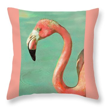 Throw Pillow featuring the digital art Vintage Flamingo by Jane Schnetlage