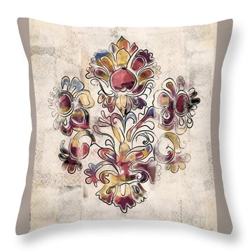 Throw Pillow featuring the mixed media Vintage Fleur by Carrie Joy Byrnes