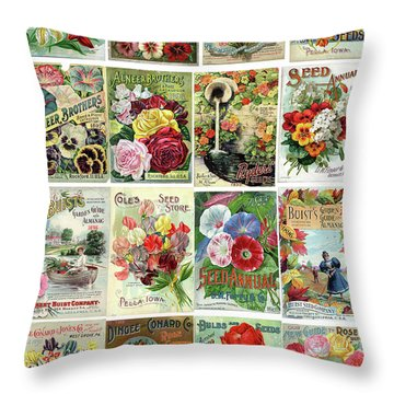 Vintage Flower Seed Packets 1 Throw Pillow by Peggy Collins