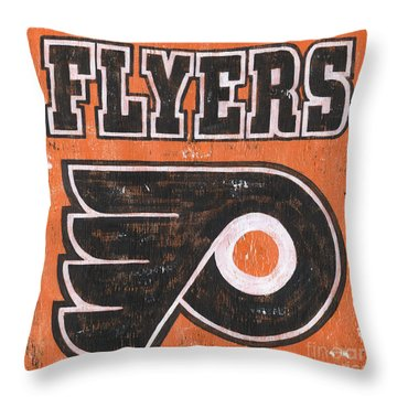 Vintage Flyers Sign Throw Pillow by Debbie DeWitt