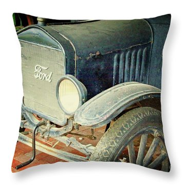 Vintage Ford Throw Pillow by Inspirational Photo Creations Audrey Woods