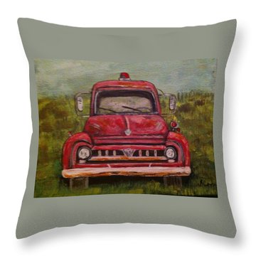 Vintage  Ford Fire Truck Throw Pillow