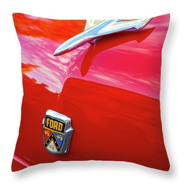 Throw Pillow featuring the photograph Vintage Ford Hood Ornament Havana Cuba by Charles Harden