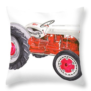 Throw Pillow featuring the painting Vintage Ford Tractor 1941 by Jack Pumphrey