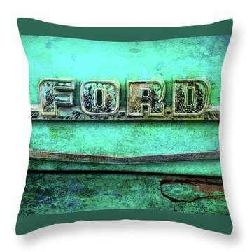 Vintage Ford Truck Logo  Throw Pillow by Terry DeLuco