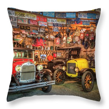 Throw Pillow featuring the photograph Vintage Fords Collectibles by Debra and Dave Vanderlaan