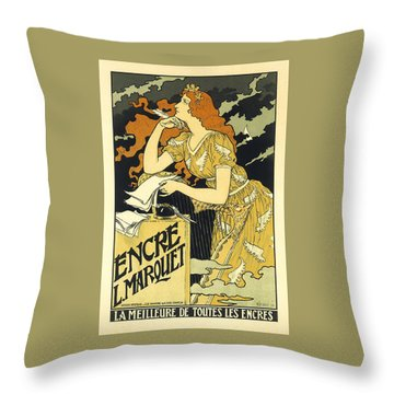 Vintage French Advertising Art Nouveau Encre L'marquet Throw Pillow