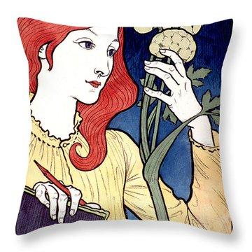 Vintage French Advertising Art Nouveau Salon Des Cent Throw Pillow