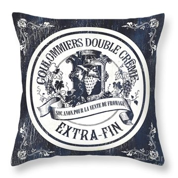 Vintage French Cheese Label 2 Throw Pillow