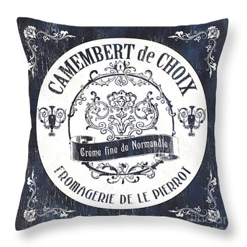 Vintage French Cheese Label 3 Throw Pillow