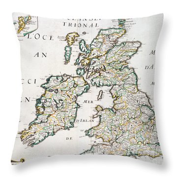 Vintage French Map Of Britain And Ireland Throw Pillow