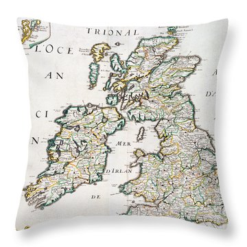 Vintage French Map Of Britain And Irelandvintage Map Of Britain And Ireland Throw Pillow