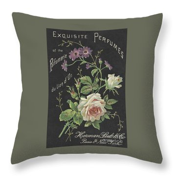 Vintage French Perfume  Throw Pillow