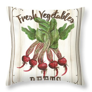 Throw Pillow featuring the painting Vintage Fresh Vegetables 1 by Debbie DeWitt