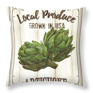 Throw Pillow featuring the painting Vintage Fresh Vegetables 2 by Debbie DeWitt