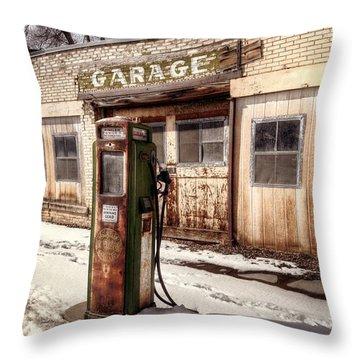 Vintage Garage Throw Pillow