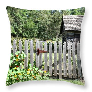 Vintage Garden Gate Throw Pillow by Inspired Arts