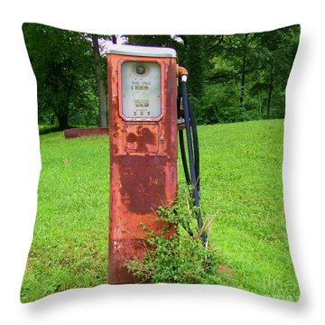 Vintage Gas Pump Throw Pillow by Donna Dixon