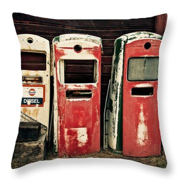 Vintage Gas Pumps Throw Pillow