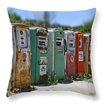 Vintage Gas Pumps Throw Pillow