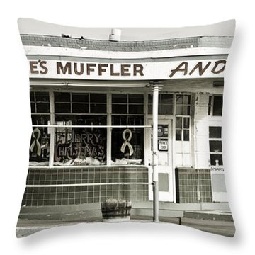 Vintage Gas Station Throw Pillow