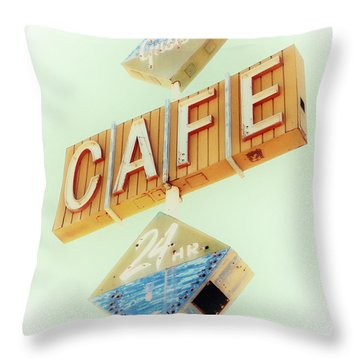 Vintage Gaston's Cafe Sign Throw Pillow