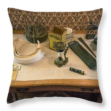 Throw Pillow featuring the photograph Vintage Gentlemen's Preparation Table by Gary Slawsky