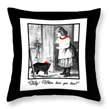 Vintage Girl Lets In Her Gray Cat Throw Pillow