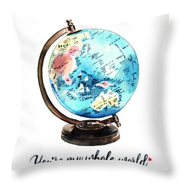 Vintage Globe Love You're My Whole World Throw Pillow by Laura Row