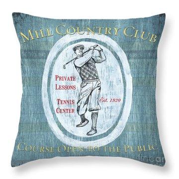 Vintage Golf Blue 2 Throw Pillow by Debbie DeWitt