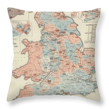 Vintage Graphic Parliamentary Map Throw Pillow