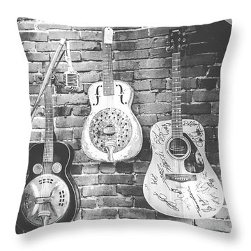 Vintage Guitar Trio In Black And White Throw Pillow