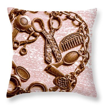 Vintage Hairdressing Charm Throw Pillow