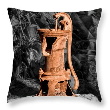 Vintage Hand Water Pump Throw Pillow