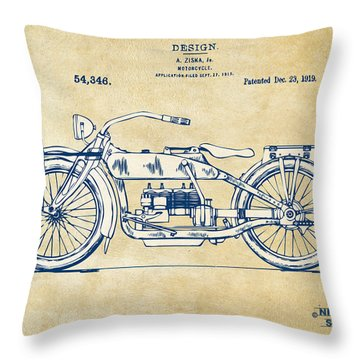 Vintage Harley-davidson Motorcycle 1919 Patent Artwork Throw Pillow by Nikki Smith