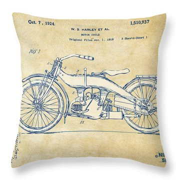 Throw Pillow featuring the digital art Vintage Harley-davidson Motorcycle 1924 Patent Artwork by Nikki Smith