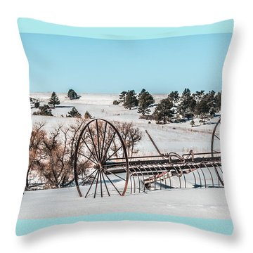 Vintage Hay Rake Throw Pillow