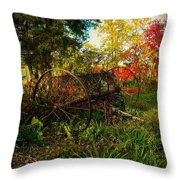 Vintage Hay Rake Throw Pillow