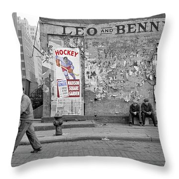 Vintage Hockey Poster Throw Pillow