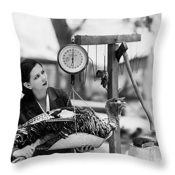 Vintage Holiday Card   Woman Weighing A Turkey Ahead Of The Holidays Throw Pillow by American School