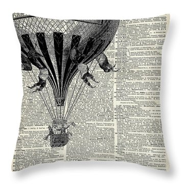 Vintage Hot Air Balloon Illustration,antique Dictionary Book Page Design Throw Pillow