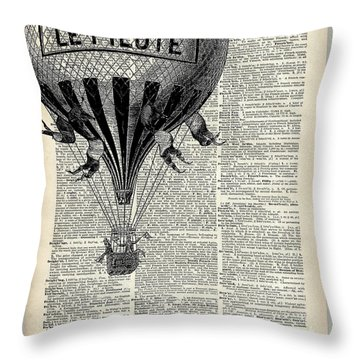 Vintage Hot Air Balloon Illustration,antique Dictionary Book Page Design Throw Pillow by Jacob Kuch